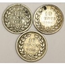 1862 1880 and 1896 Netherlands 10 cents silver coins 3-coins