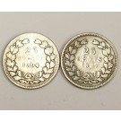 1894 and 1897  Netherlands 25 cents Silver Coins G/VG