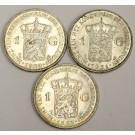 3x Netherlands 1 Gulden Silver Coins 1923 1930 and 1931