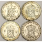4x Netherlands 1 Gulden Silver Coins 1922 1923 1930 and 1931