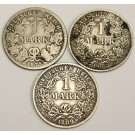 1875 1906 and 1909 Germany One Mark silver coins 3-coins