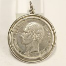 1851 Belgium 5 Francs silver coin nicely mounted in silver as pendant