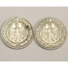 2x 1927F Germany 50 Reichspfennig coins nice grades