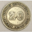 1898 Straits Settlements 20 Cents silver coin VF25