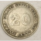 1891 Straits Settlements 20 Cents silver coin FINE