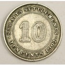 1902 Straits Settlements 10 Cents silver coin F12