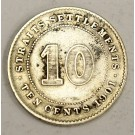 1901 Straits Settlements 10 Cents silver coin VF20