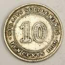 1889 Straits Settlements 10 Cents silver coin a/VF