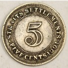 1901 Straits Settlements 5 Cents silver coin VF25