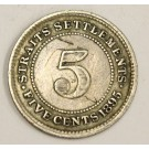 1895 Straits Settlements 5 Cents silver coin