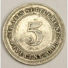 1893 Straits Settlements 5 Cents silver coin a/VF