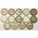 14x Straits Settlements 10 Cents silver coins