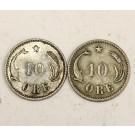 Denmark 1891 and 1905 10 Ore silver coins