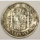 1885 85MS-M Spain One Peseta VF details