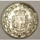 Italy 1889R 50 Centesimi silver coin a/EF details
