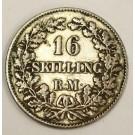1857 Denmark 16 Skilling silver coin a/VF