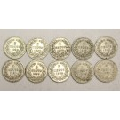 10x Netherlands 5 Cents silver coins 6x1850 1x1855 3x1869 10-coins