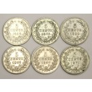 6x Netherlands 5 Cents silver coins 1850 1855 1859 1963 1869 1879