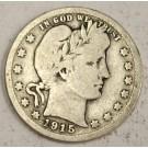 1915s Barber Quarter silver coin VG08