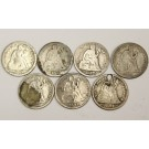 Seated Liberty Dimes 1849 1877 1877s 1883 1887s 1888 1891 7-coins