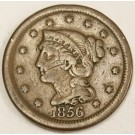 1856 Braided Hair Large Cent 1c nice FINE