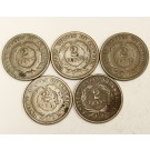 5x 1864 USA Two Cent 2c pieces 5-Coins AG/G