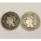1865 and 1866 Nickel Three Cent Coins USA