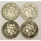 1865 1867 1868 and 1869 Nickel Three Cent Coins USA 4-coins