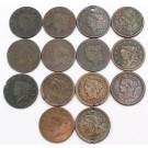 1818 to 1854 USA Large Cents 14-coins