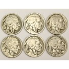 6x 1923s Buffalo Nickels all readable 6-coins G to VG