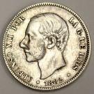 1882 (82) Spain 2 Pesetas silver coin a/EF