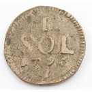 1795 Luxembourg One Sol coin KM15 siege coinage
