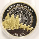 2013 CANADA $1 Silver Dollar - celebrates the arctic expedition Gold Plated