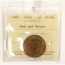 1910 Canada Large Cent ICCS MS62 Red and Brown