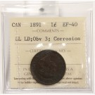 1891 LDLL OBV 3 Canada Large Cent ICCS EF40