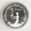 Papua New Guinea 5 Kina silver coin Year of The Child Choice Cameo Proof
