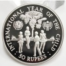 Seychelles 1980 50 Rupees silver coin Year of The Child Gem Mirror Cameo Proof