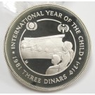 1981 Jordan 3 Dinars Silver Proof Coin Year of the Child Gem Mirror Cameo Proof