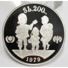 Bolivia 1979 200 Pesos silver Coin Year of the Child