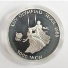 1988 Olympics Seoul Korea 5,000 Won silver coin SWINGING