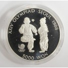 1988 Olympics Seoul Korea 5,000 Won silver coin SHUTTLECOCK