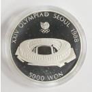 1988 Olympics Seoul Korea 5,000 Won silver coin MAIN STADIUM