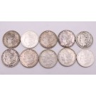 10x Morgan silver dollars 1883-1900 10-different coins