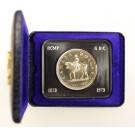 Official RCMP silver dollar 1873-1973 Golden RCMP Crest on case blue inside