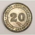 1927 Straits Settlements 20 cents EF/AU