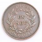 c1837 Lower Canada Un Sou token Agriculture & Commerce LC-27A1 a/EF