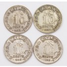 Ceylon 10 cents silver coins 1919 1927 and 2x1928 4-coins
