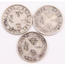 3x Hong Kong 10 Cents silver coins 1898 1899 and 1903 3-coins