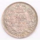 1886 Great Britain silver Sixpence Choice almost Uncirculated