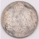 1907 India One Rupee silver coin a/EF